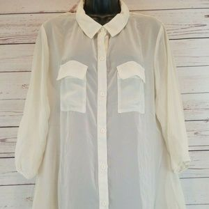 l8ter Xl Off white Sheer button up blouse